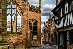 Ruins of Coventry Cathedral destroyed in World War II